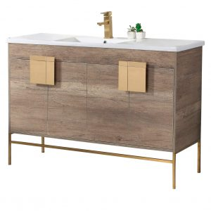 "Shawbridge 48"" Modern Single Bathroom Vanity  Shadow Gray with Satin Brass Hardware"