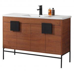 "Shawbridge 48"" Modern Single Bathroom Vanity  Spicy Walnut with Black Hardware"