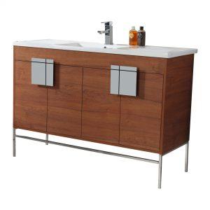 "Shawbridge 48"" Modern Single Bathroom Vanity  Spicy Walnut with Chrome Hardware"