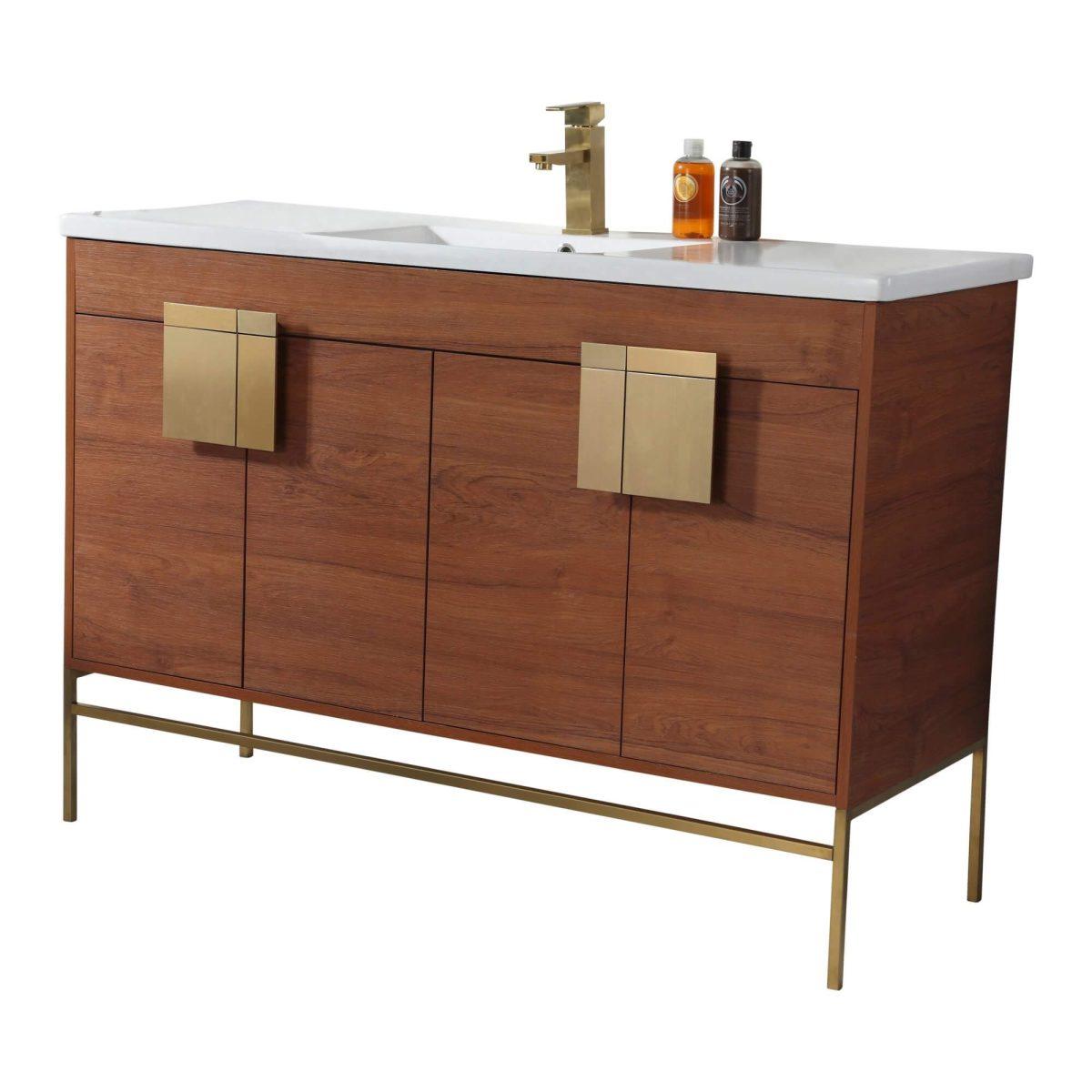 "Shawbridge 48"" Modern Single Bathroom Vanity  Spicy Walnut with Satin Brass Hardware"