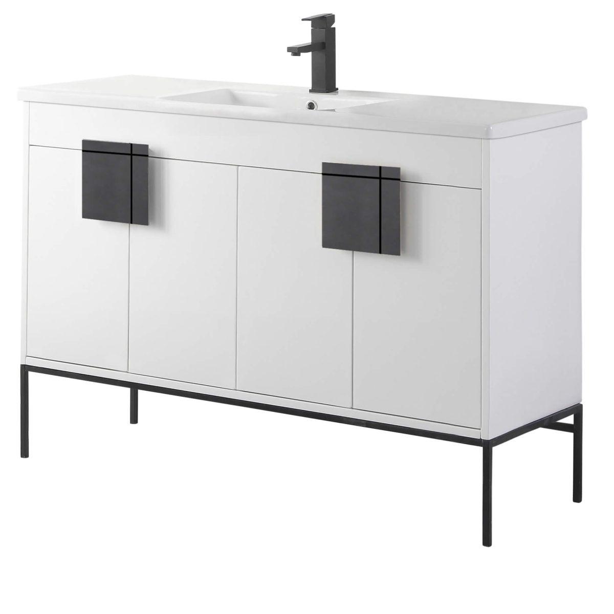 "Shawbridge 48"" Modern Single Bathroom Vanity  White with Black Hardware"