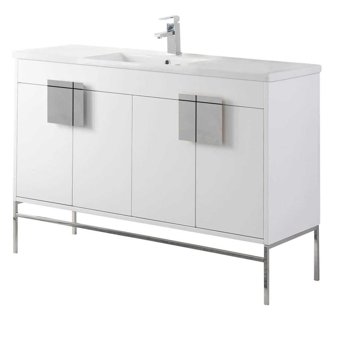 """Shawbridge 48"""" Modern Single Bathroom Vanity  White with Polished Chrome Hardware"""