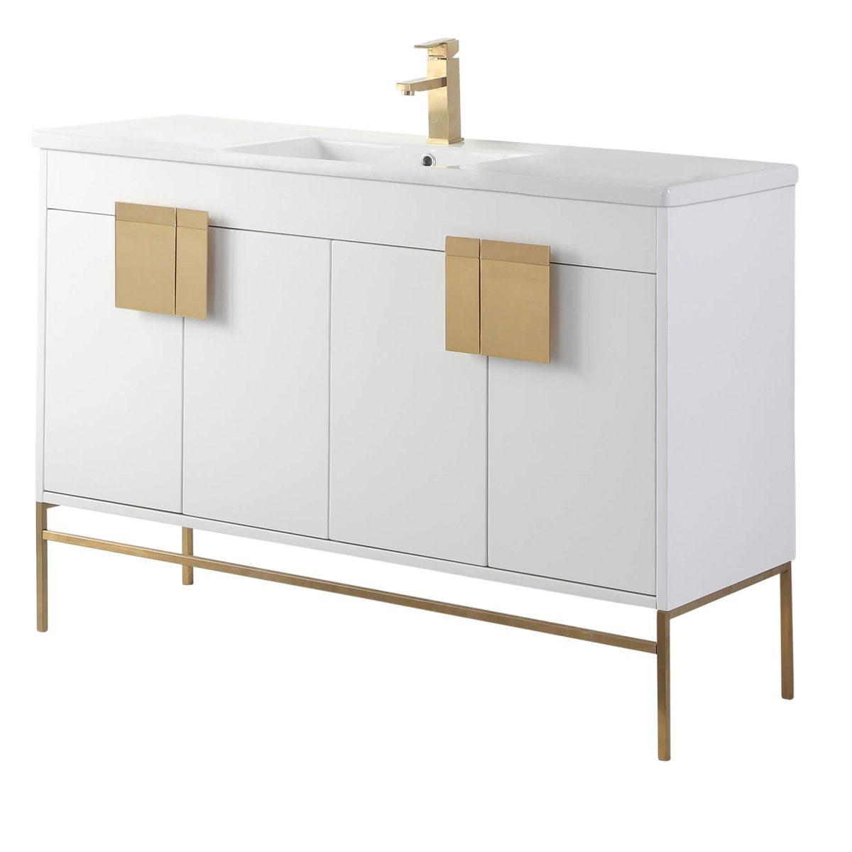 "Shawbridge 48"" Modern Single Bathroom Vanity  White with Satin Brass Hardware"