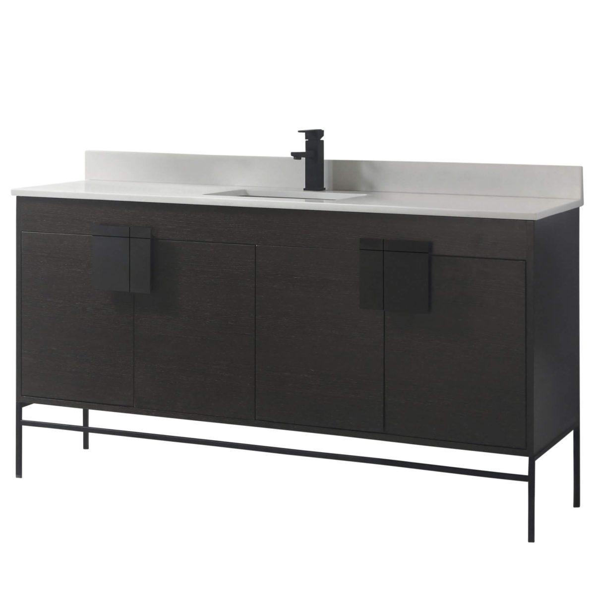 "Shawbridge 60"" Modern Single Bathroom Vanity  Black Oak Straight Grain with Black Hardware"