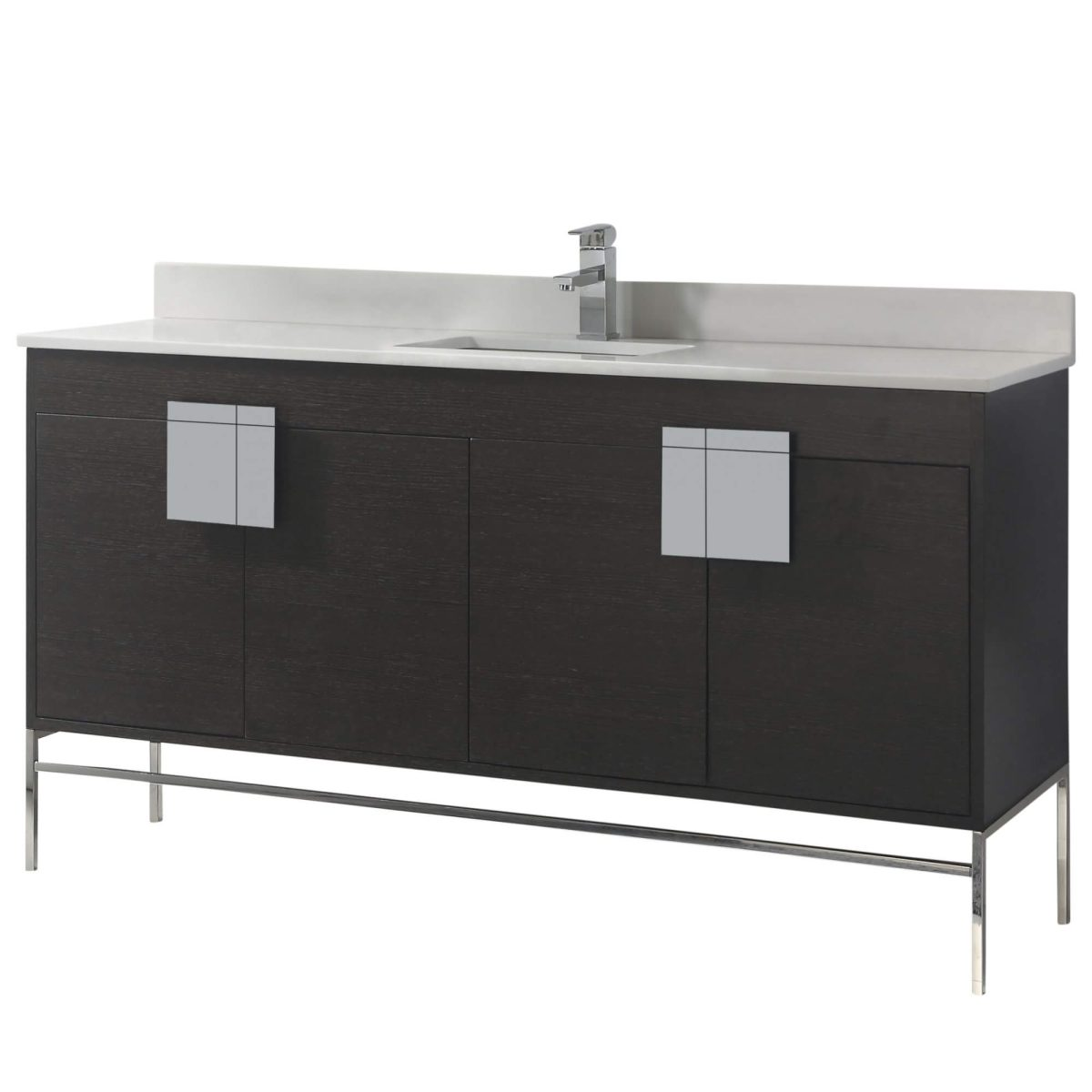 "Shawbridge 60"" Modern Single Bathroom Vanity  Black Oak Straight Grain with Polished Chrome Hardware"