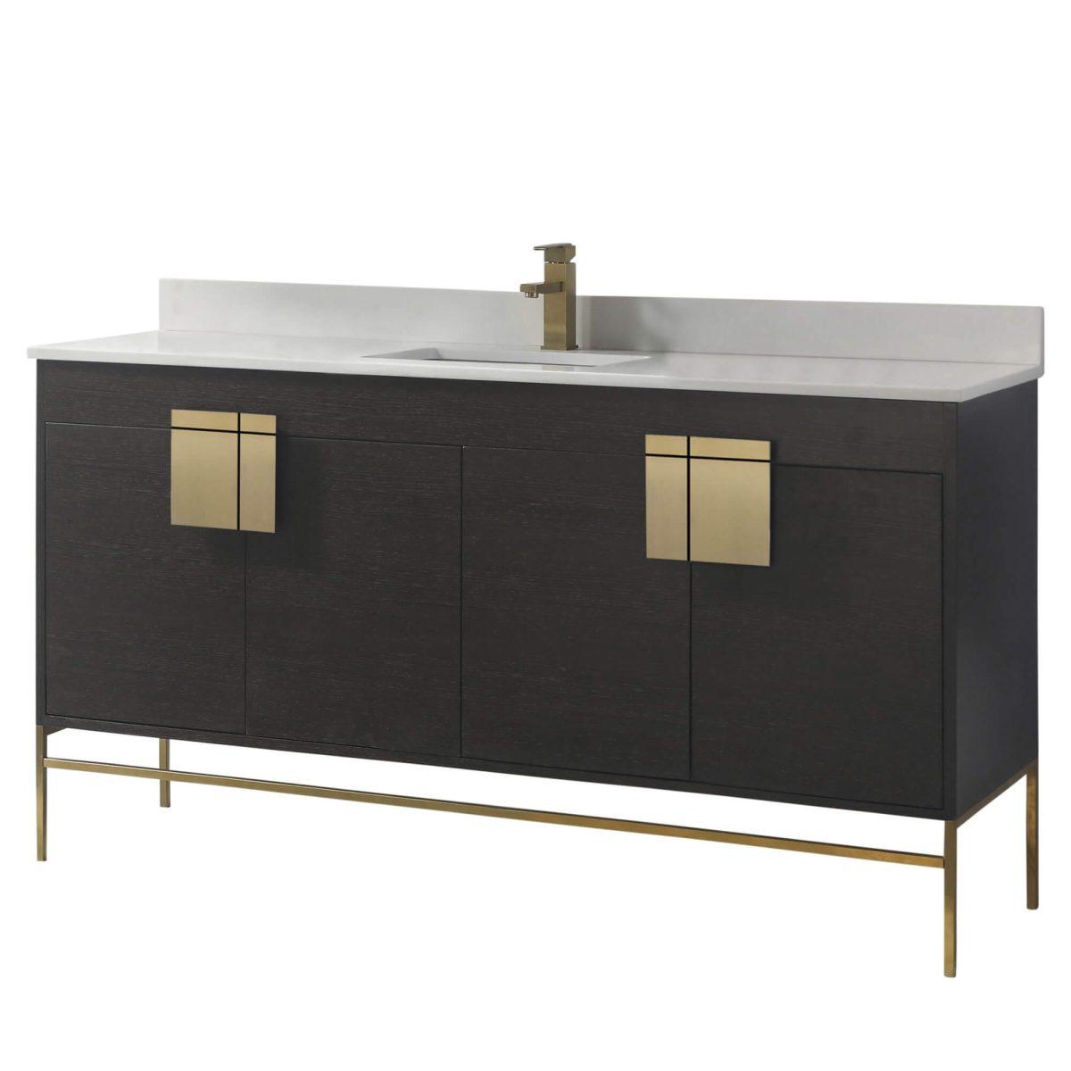 "Shawbridge 60"" Modern Single Bathroom Vanity  Black Oak Straight Grain with Satin Brass Hardware"