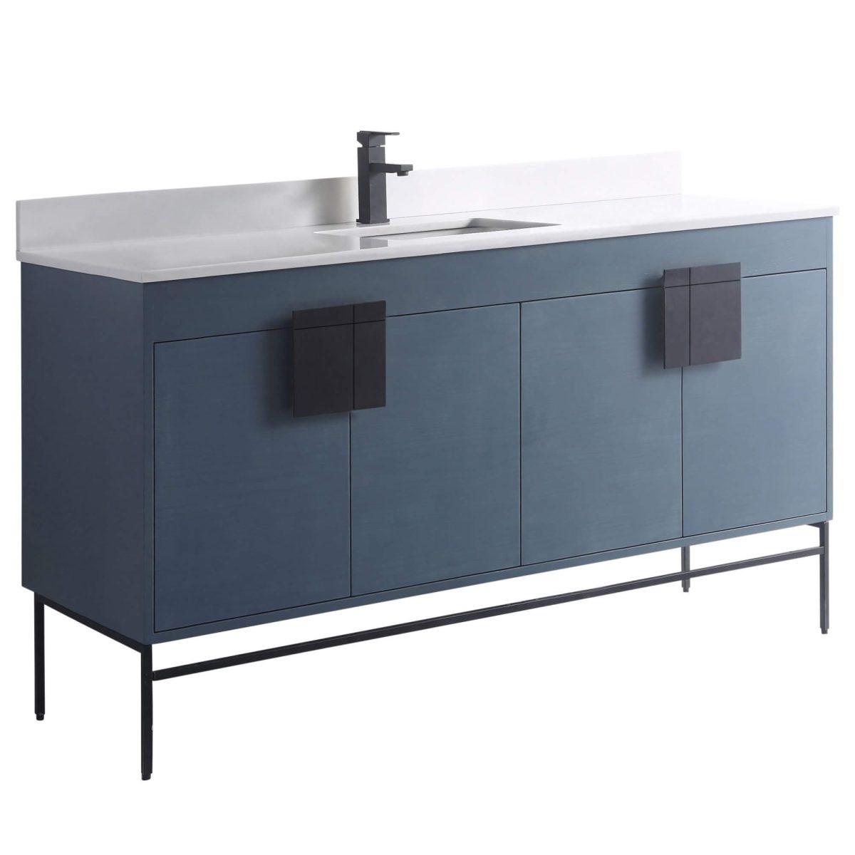 "Shawbridge 60"" Modern Single Bathroom Vanity  French Blue with Black Hardware"