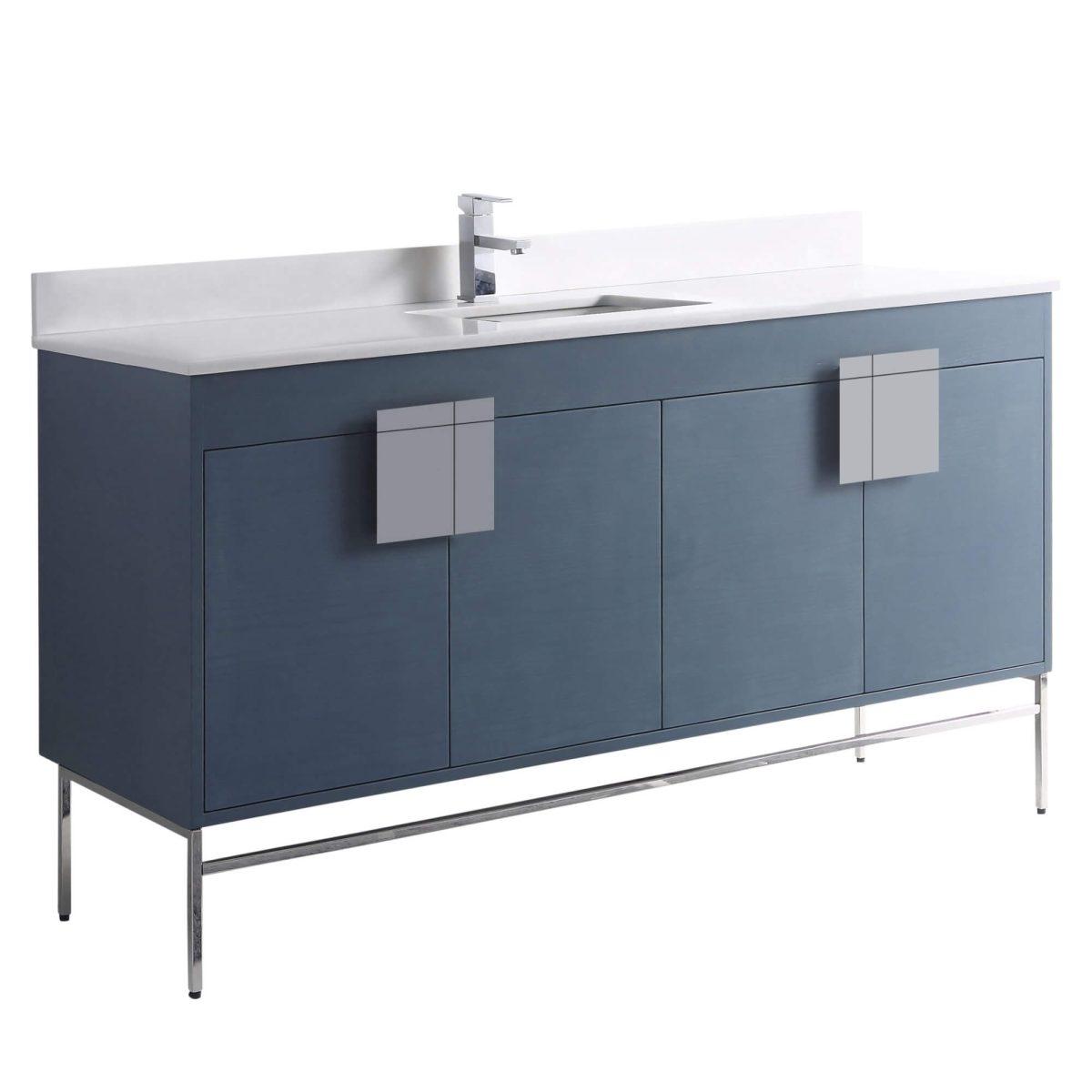 """Shawbridge 60"""" Modern Single Bathroom Vanity  French Blue with Polished Chrome Hardware"""