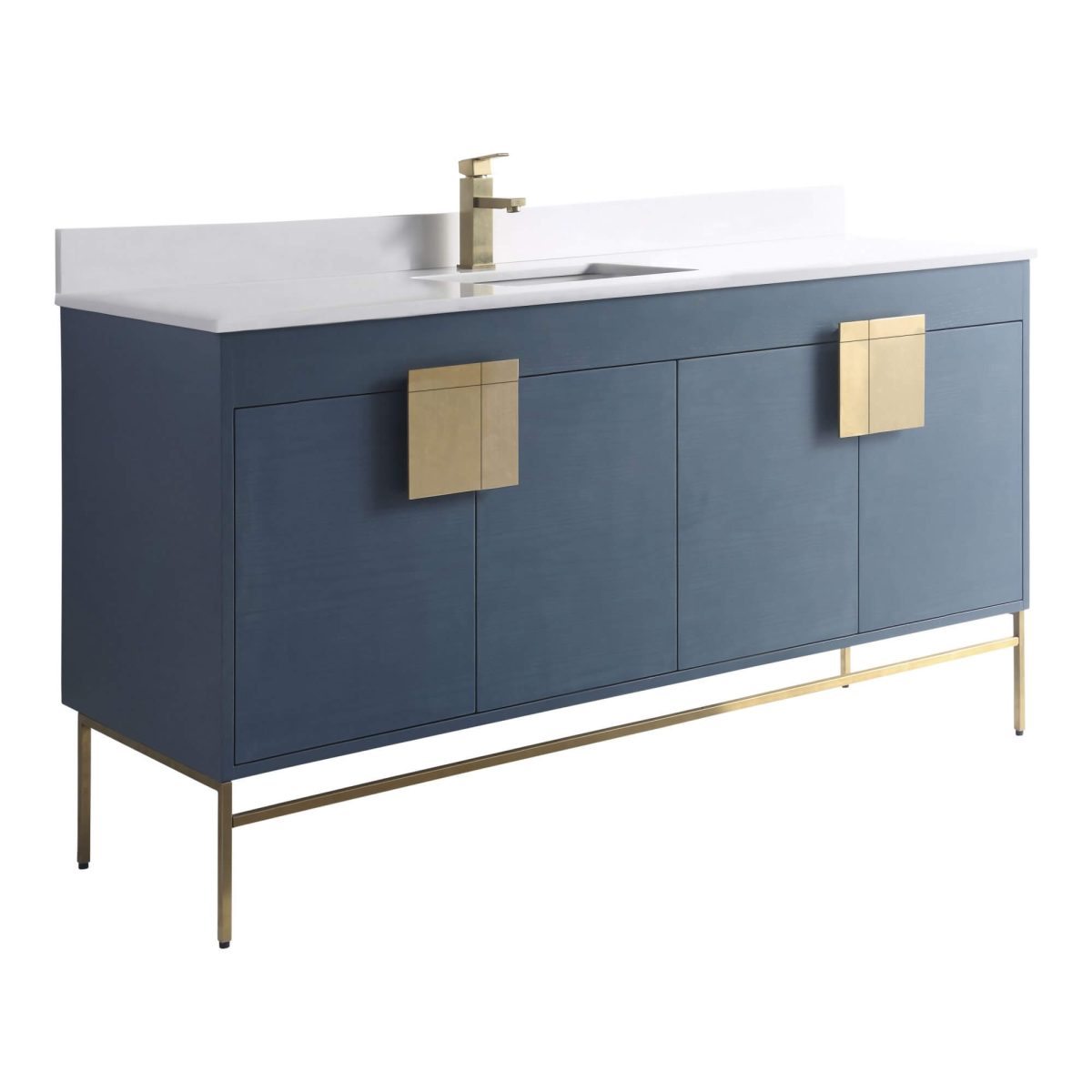 "Shawbridge 60"" Modern Single Bathroom Vanity  French Blue with Satin Brass Hardware"