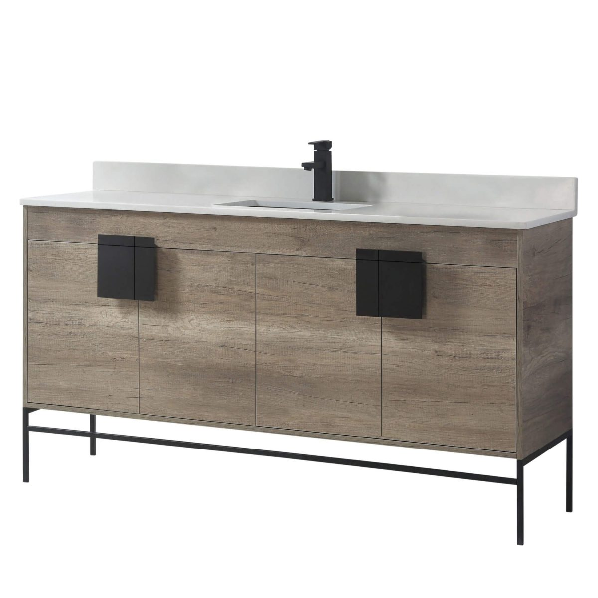 "Shawbridge 60"" Modern Single Bathroom Vanity  Shadow Gray with Black Hardware"