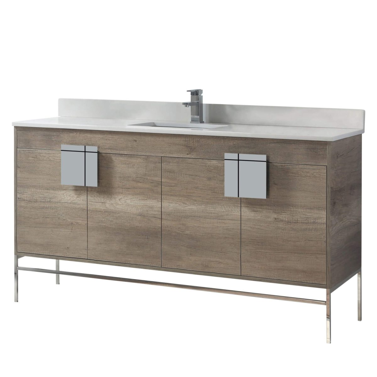 "Shawbridge 60"" Modern Single Bathroom Vanity  Shadow Gray with Polished Chrome Hardware"