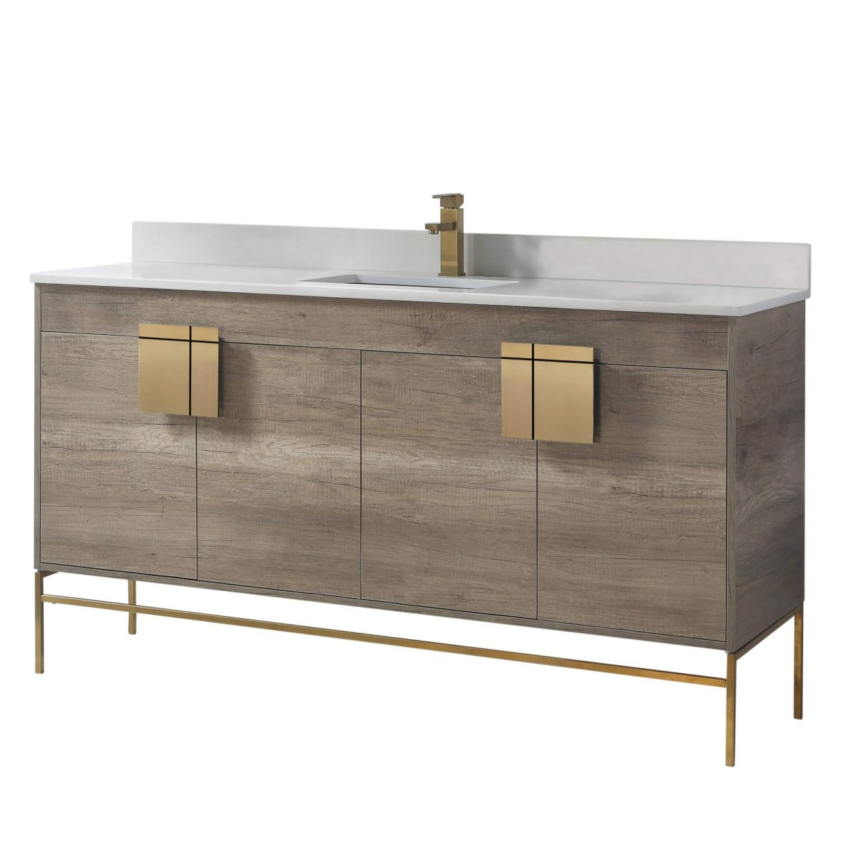 "Shawbridge 60"" Modern Single Bathroom Vanity  Shadow Gray with Satin Brass Hardware"