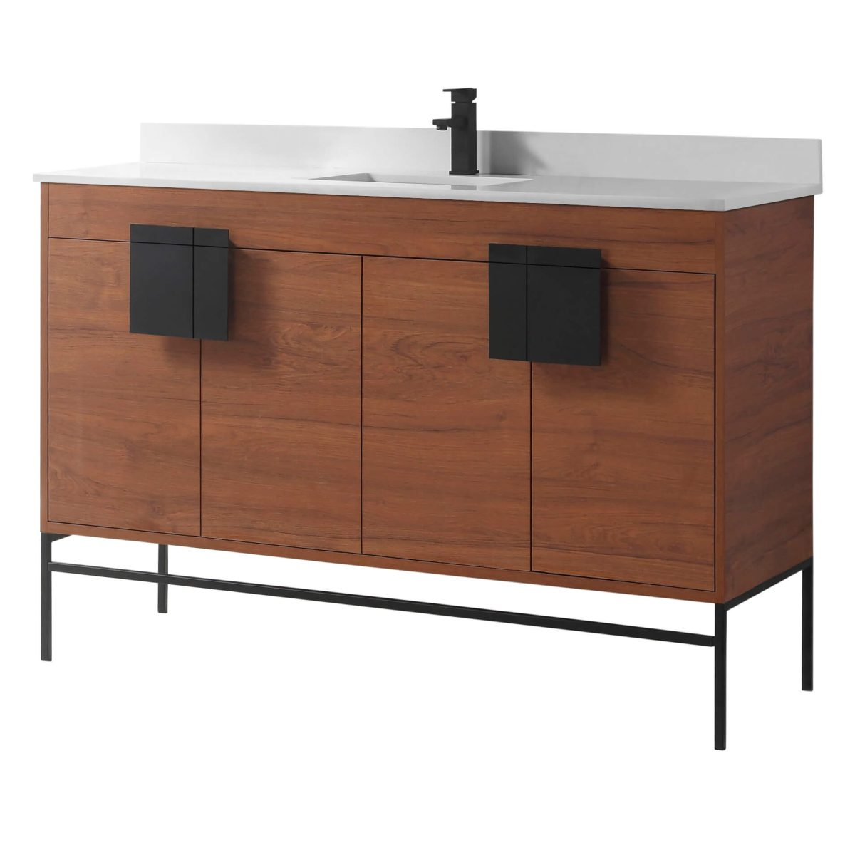 "Shawbridge 60"" Modern Single Bathroom Vanity  Spicy Walnut with Black Hardware"