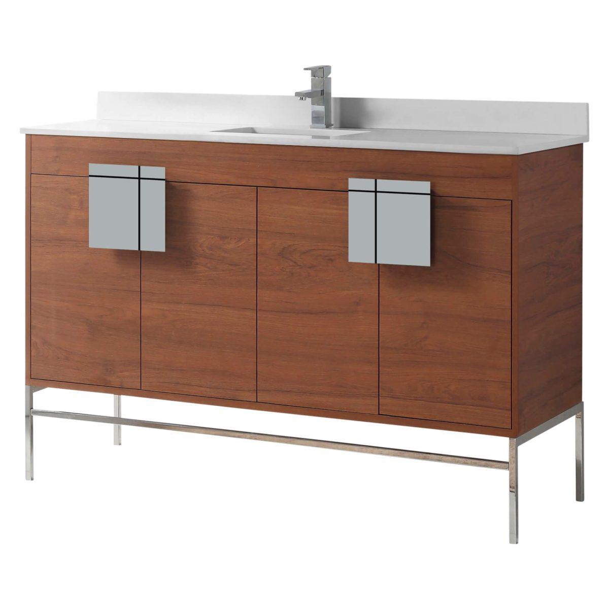 "Shawbridge 60"" Modern Single Bathroom Vanity  Spicy Walnut with Chrome Hardware"