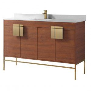 "Shawbridge 60"" Modern Single Bathroom Vanity  Spicy Walnut with Satin Brass Hardware"