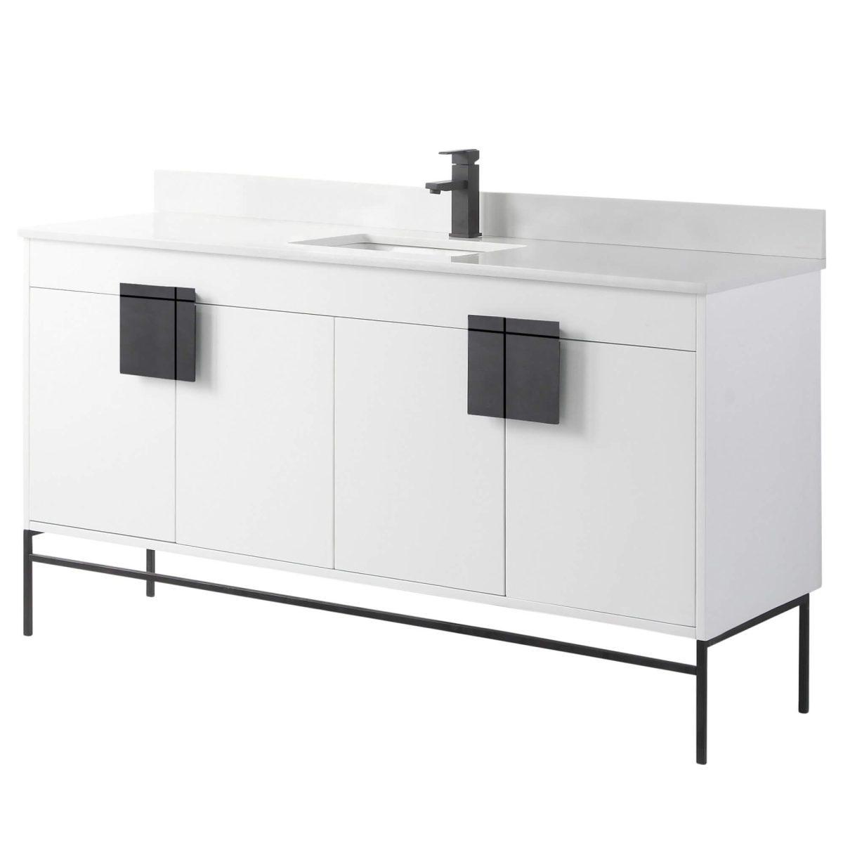 "Shawbridge 60"" Modern Single Bathroom Vanity  White with Black Hardware"