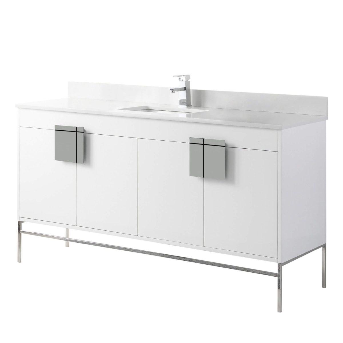 """Shawbridge 60"""" Modern Single Bathroom Vanity  White with Polished Chrome Hardware"""