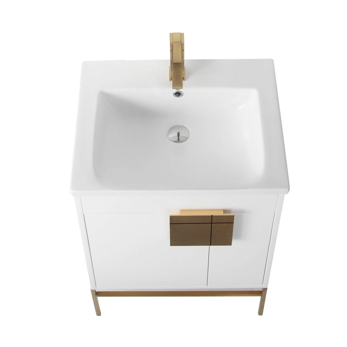 "Shawbridge 24"" Modern Bathroom Vanity  White with Satin Brass Hardware"