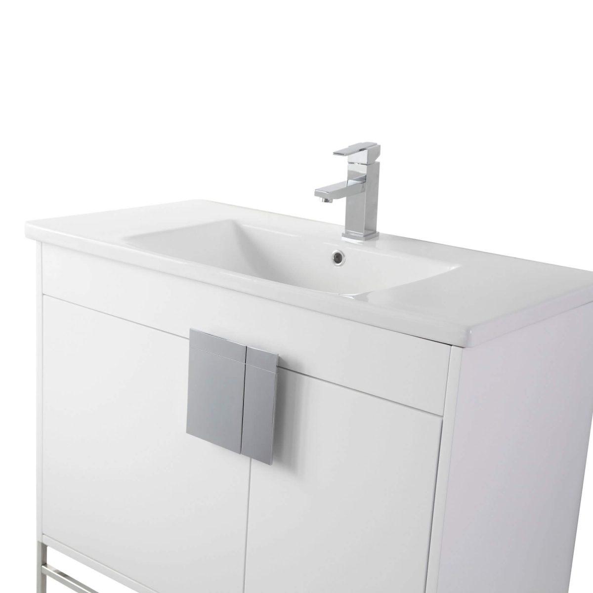 """Shawbridge 36"""" Modern Bathroom Vanity  White with Polished Chrome Hardware"""