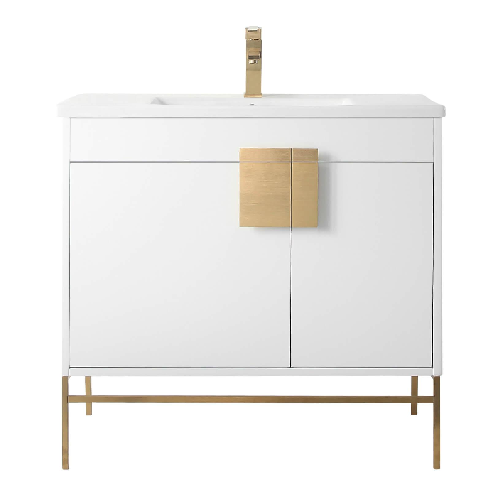 "Shawbridge 36"" Modern Bathroom Vanity  White with Satin Brass Hardware"