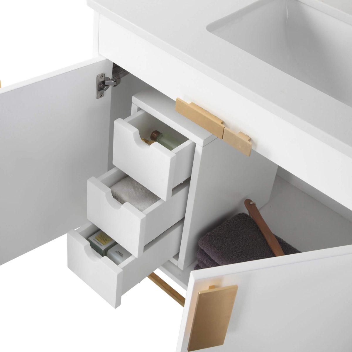"Shawbridge 60"" Modern Single Bathroom Vanity  White with Satin Brass Hardware"