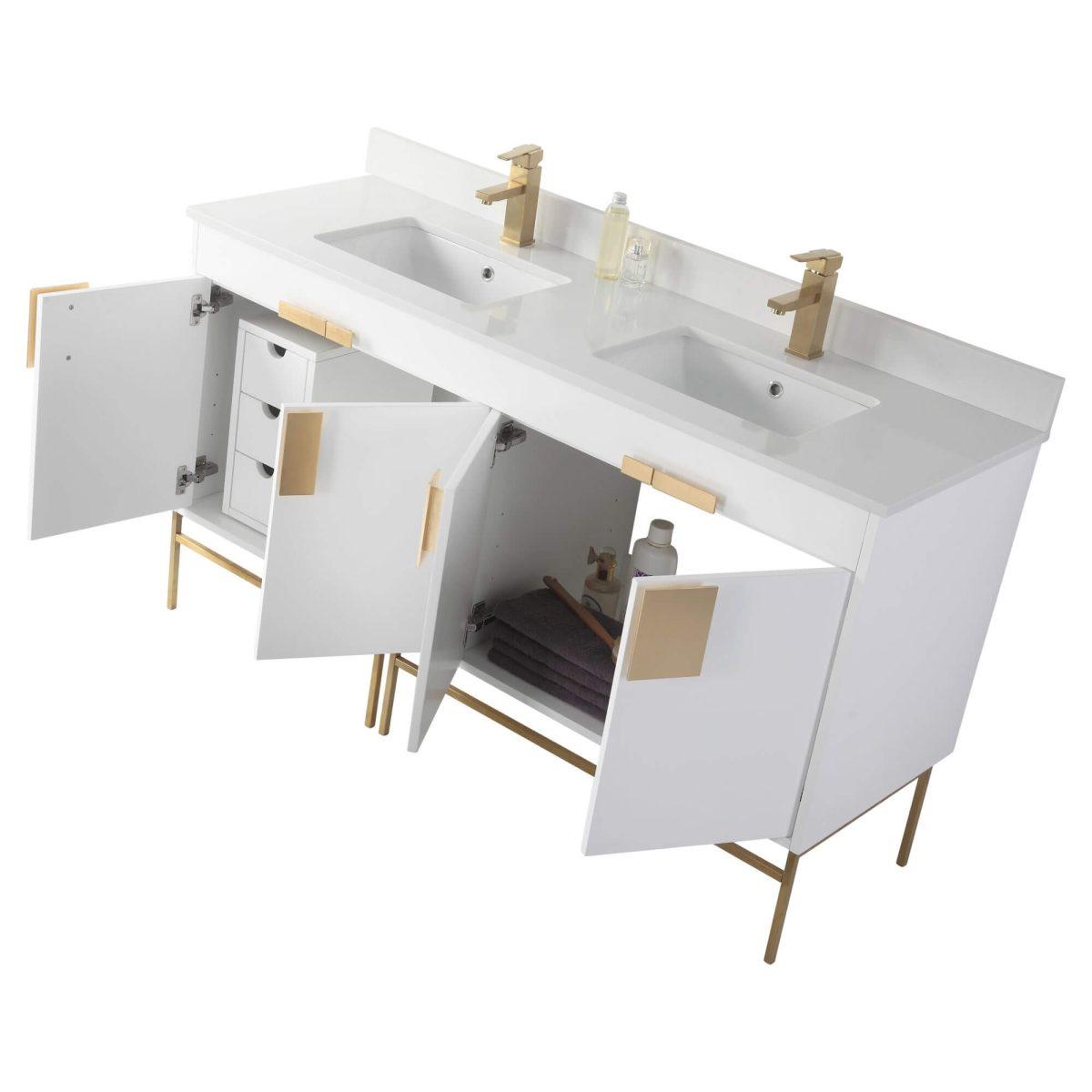 "Shawbridge 60"" Modern Double Bathroom Vanity  White with Satin Brass Hardware"