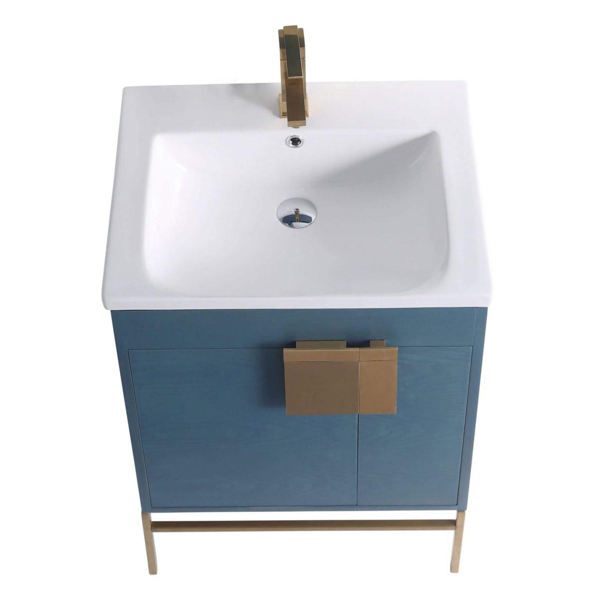 "Shawbridge 24"" Modern Bathroom Vanity  French Blue with Satin Brass Hardware"