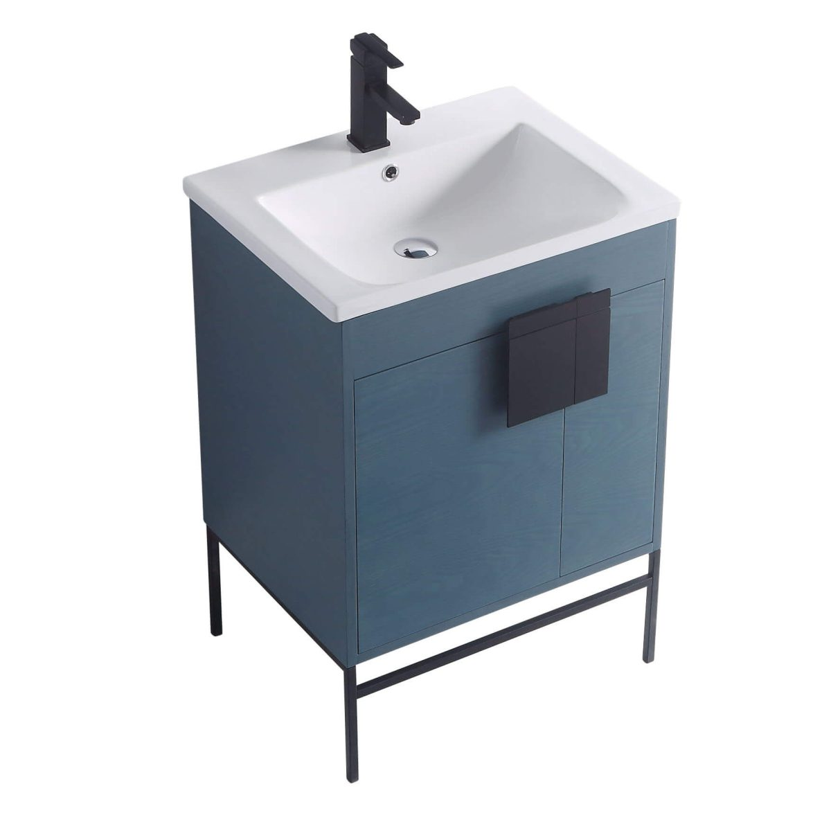 "Shawbridge 24"" Modern Bathroom Vanity  French Blue with Black Hardware"
