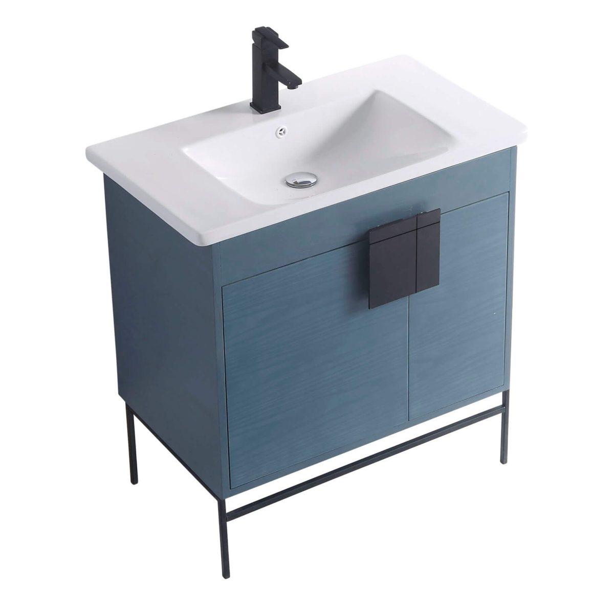 "Shawbridge 30"" Modern Bathroom Vanity  French Blue with Black Hardware"