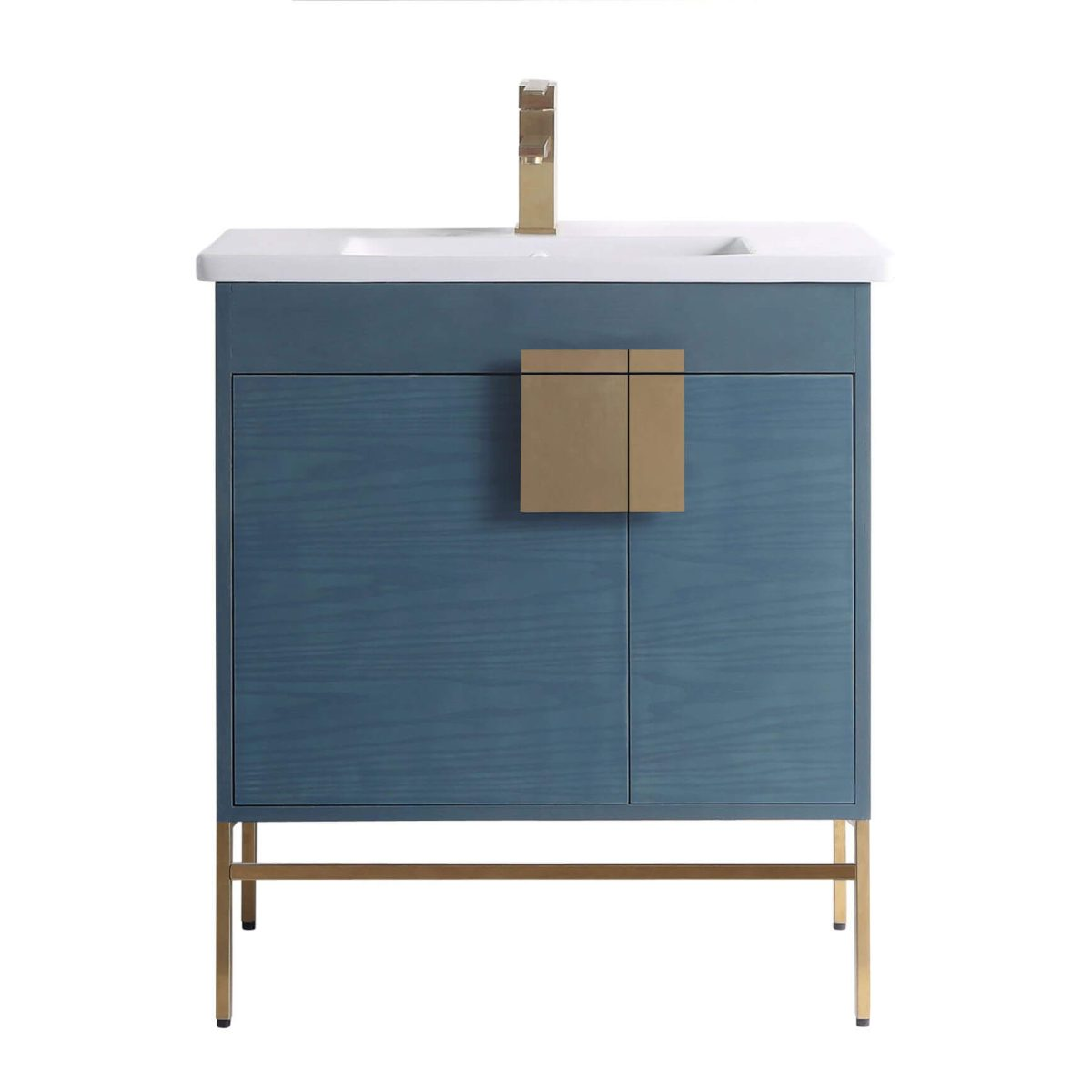 "Shawbridge 30"" Modern Bathroom Vanity  French Blue with Satin Brass Hardware"