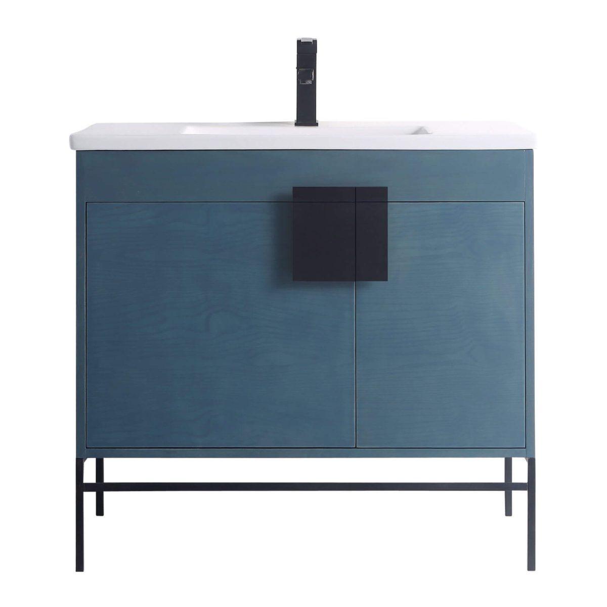 "Shawbridge 36"" Modern Bathroom Vanity  French Blue with Black Hardware"