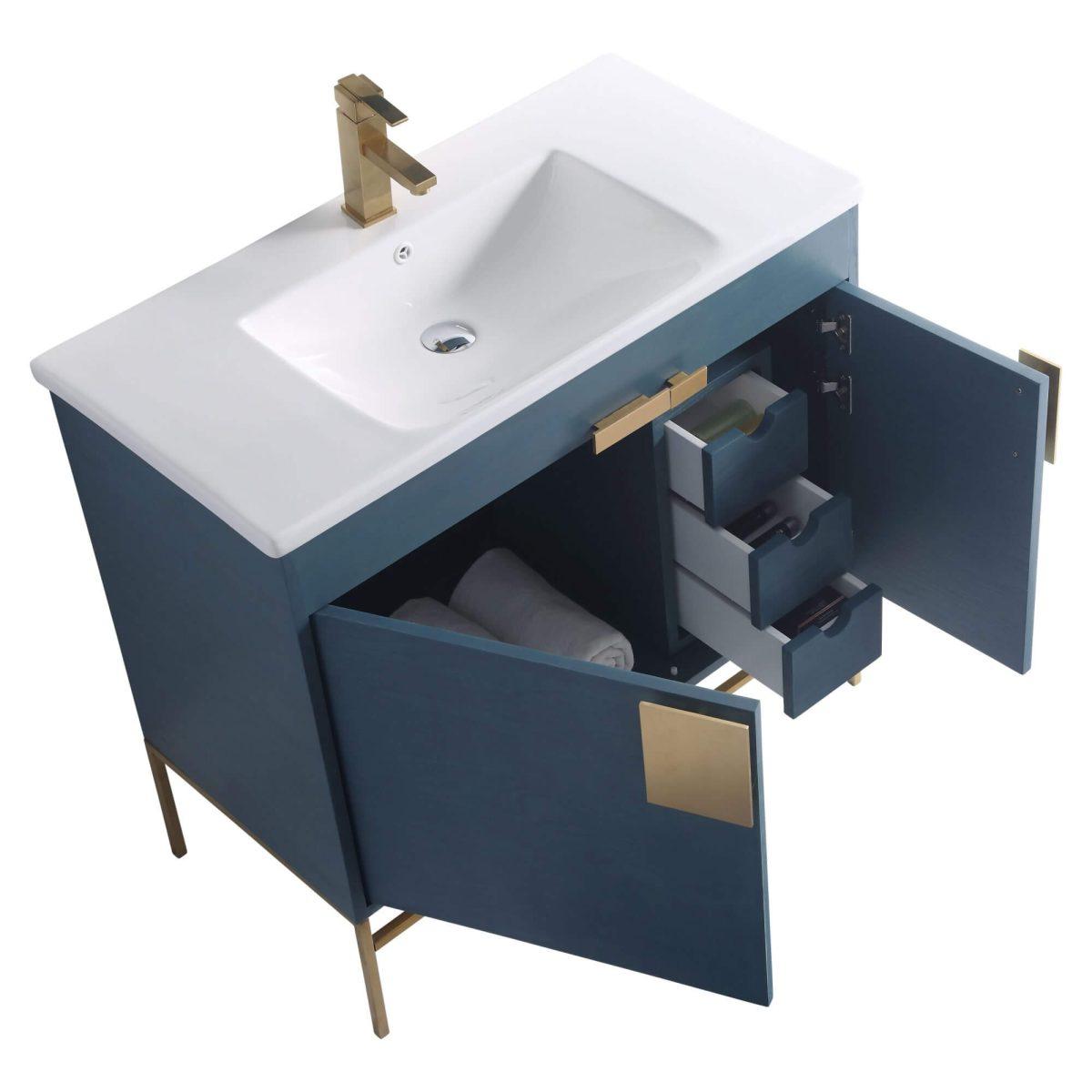 "Shawbridge 36"" Modern Bathroom Vanity  French Blue with Satin Brass Hardware"
