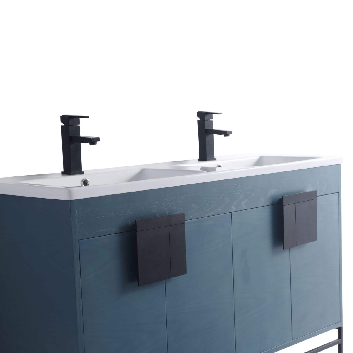 "Shawbridge 48"" Modern Double Bathroom Vanity  French Blue with Black Hardware"