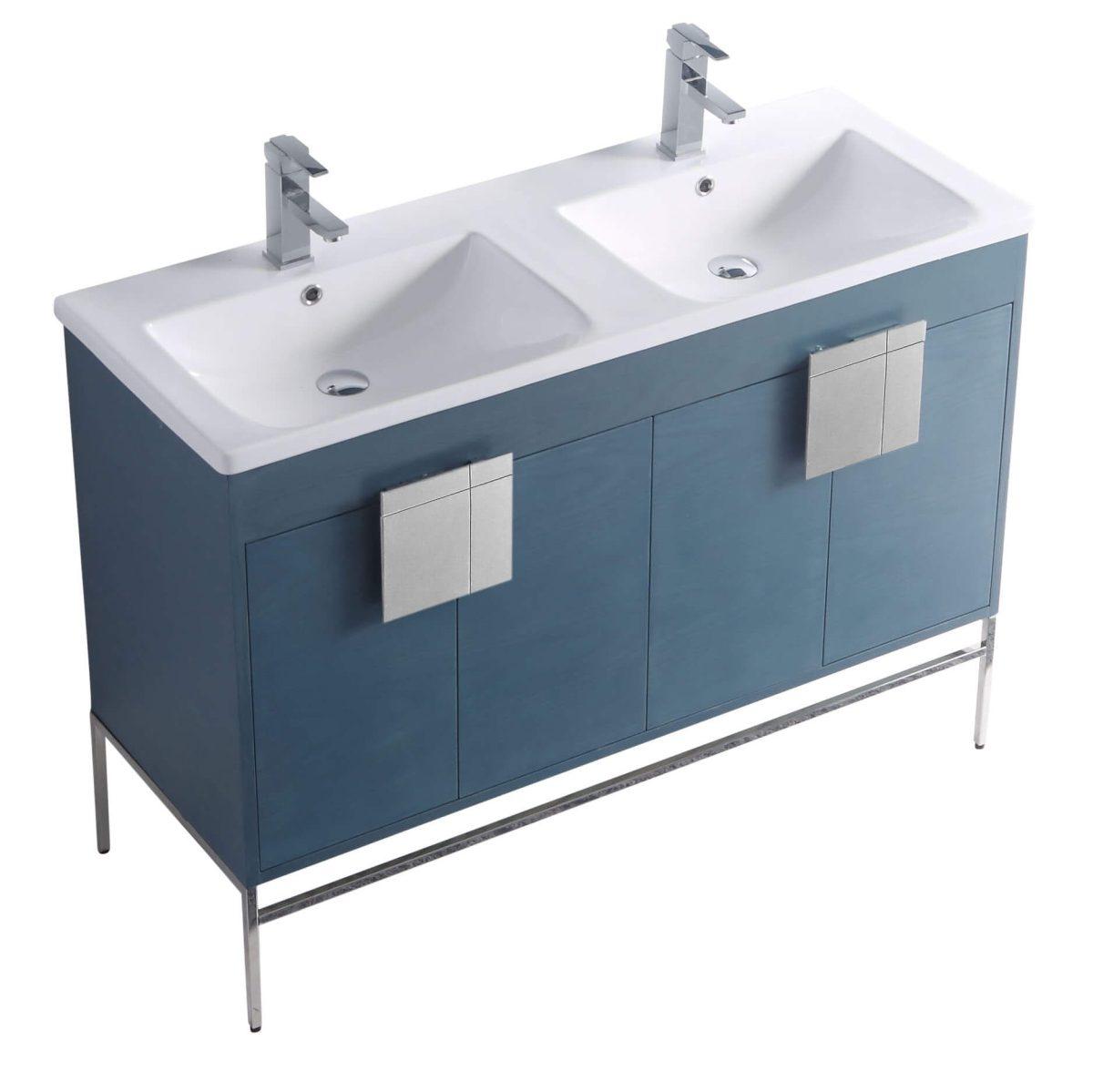 """Shawbridge 48"""" Modern Double Bathroom Vanity  French Blue with Polished Chrome Hardware"""