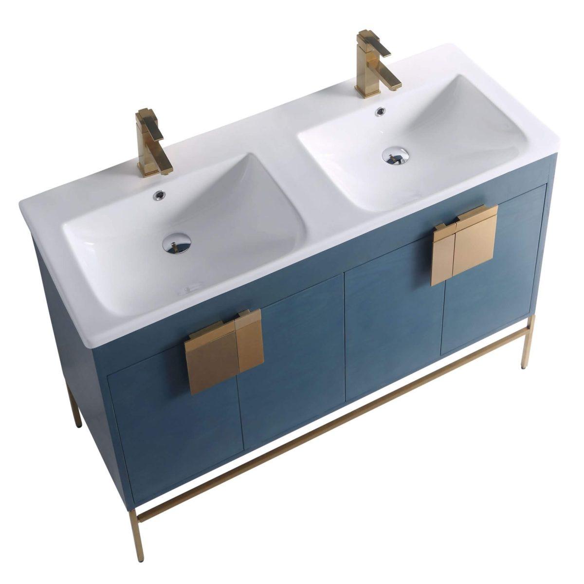 "Shawbridge 48"" Modern Double Bathroom Vanity  French Blue with Satin Brass Hardware"