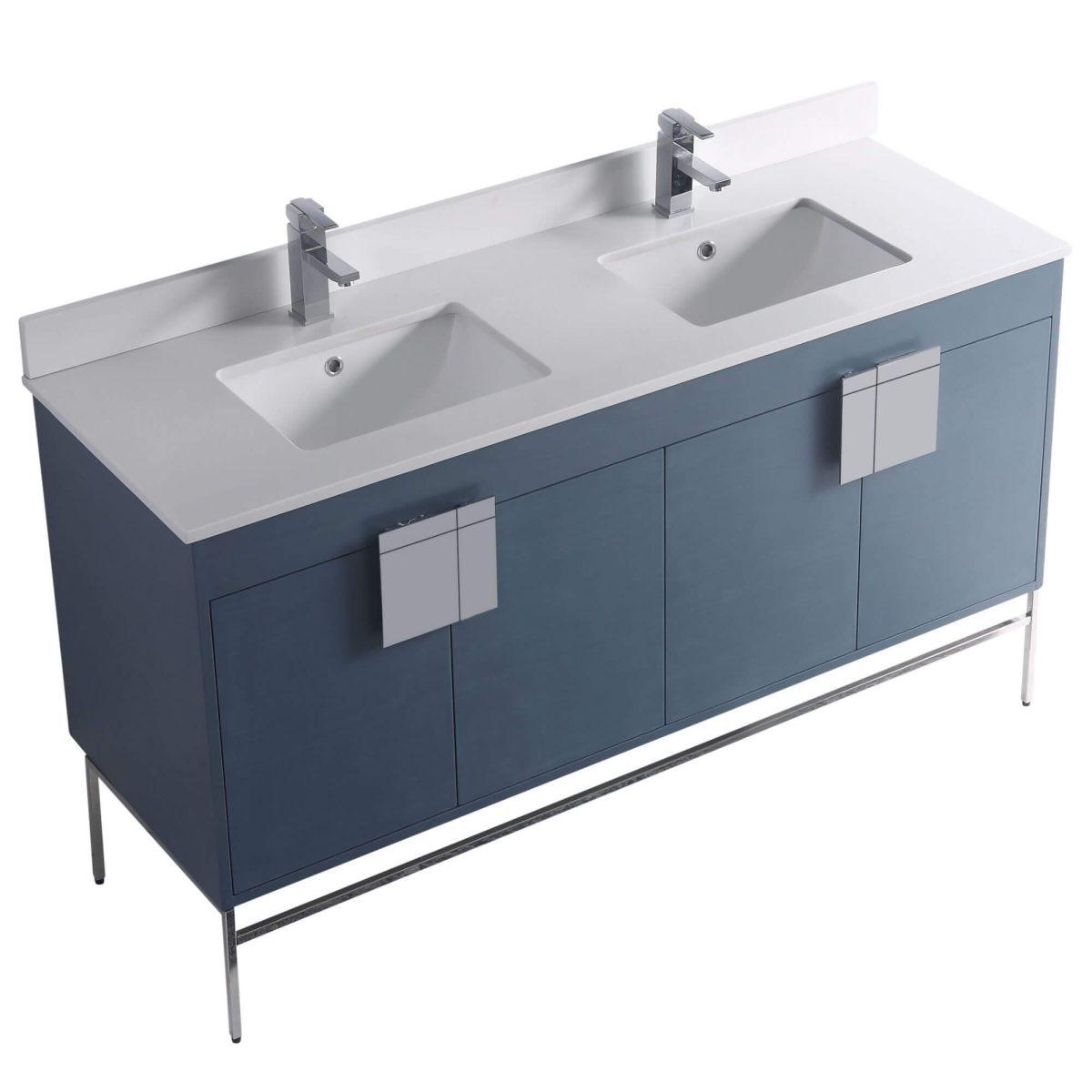 """Shawbridge 60"""" Modern Double Bathroom Vanity  French Blue with Polished Chrome Hardware"""