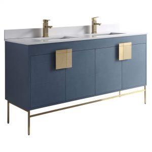 "Shawbridge 60"" Modern Double Bathroom Vanity  French Blue with Satin Brass Hardware"