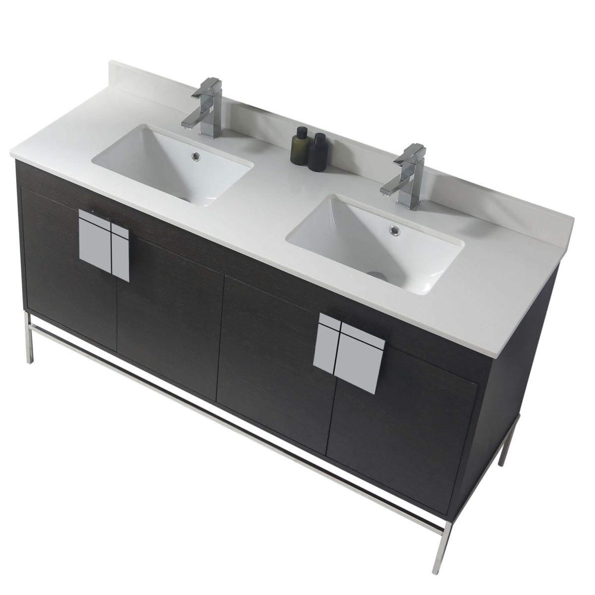 "Shawbridge 60"" Modern Double Bathroom Vanity  Black Oak Straight Grain with Polished Chrome Hardware"