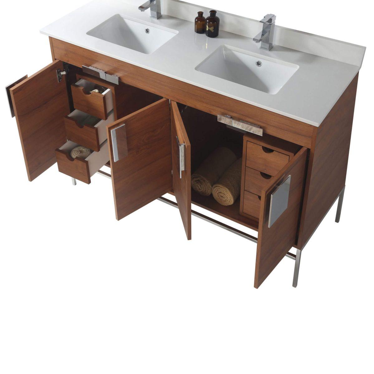 "Shawbridge 60"" Modern Double Bathroom Vanity  Spicy Walnut with Chrome Hardware"