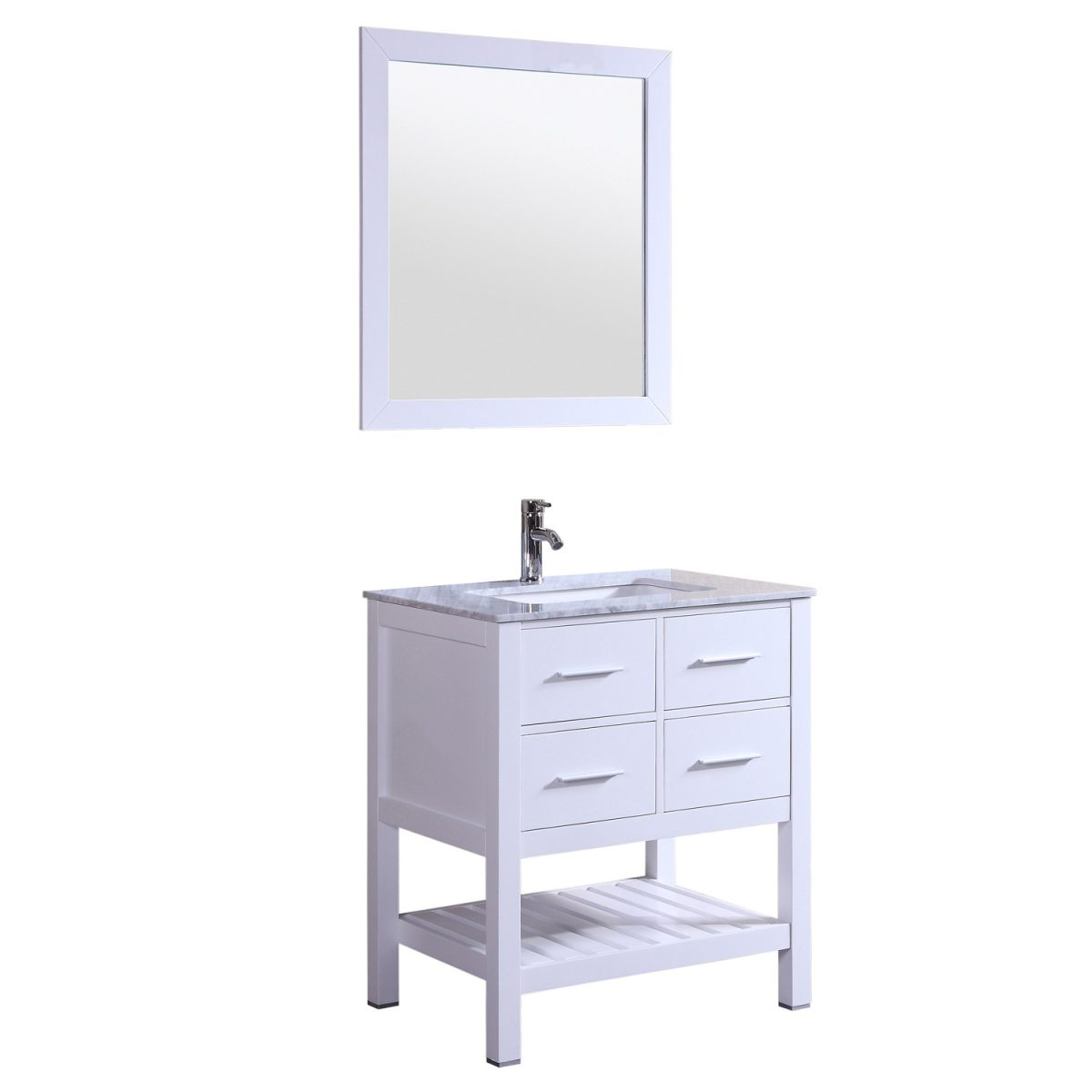 Eviva Natalie 30 inch White Bathroom Vanity with White Jazz Marble Counter-Top