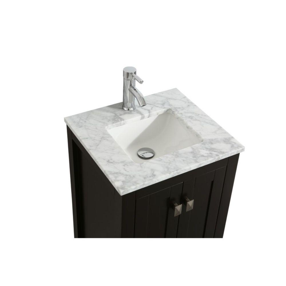 Eviva London 20 In. Transitional Espresso Bathroom Vanity with White Carrara Top
