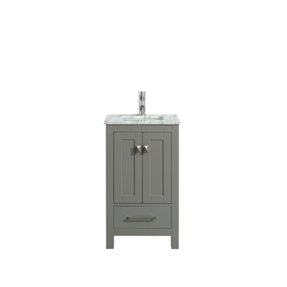 Eviva London 24 In. Transitional Grey Bathroom Vanity With White Carrara Marble Countertop