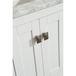 Eviva London 20 In. Transitional White Bathroom Vanity with White Carrara Top