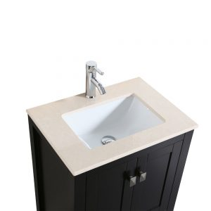 Eviva London 24 In. Transitional Espresso Bathroom Vanity With Crema Marfil Marble Countertop