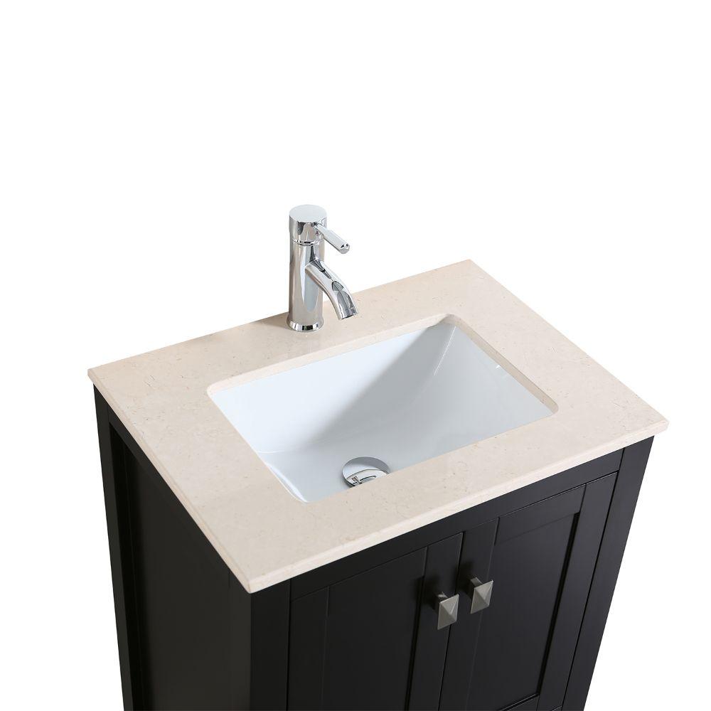 Eviva London 24 In. Transitional Espresso Bathroom Vanity With Crema Marfil Marble Countertop