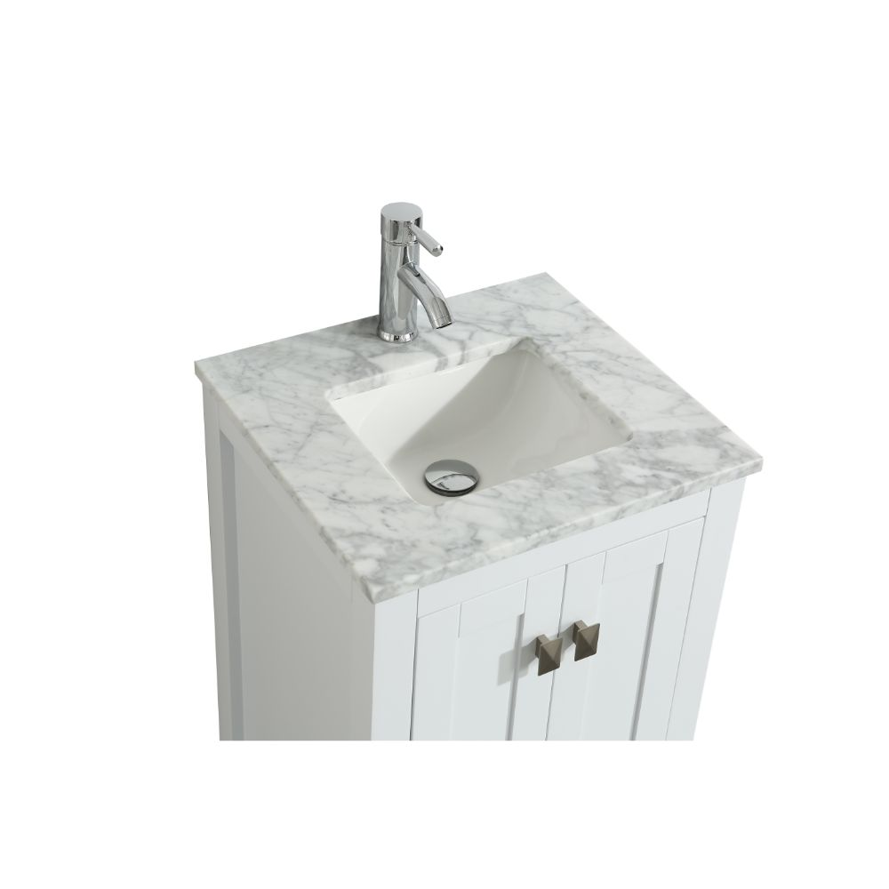 Eviva London 24 In. Transitional White Bathroom Vanity With White Carrara Marble Countertop
