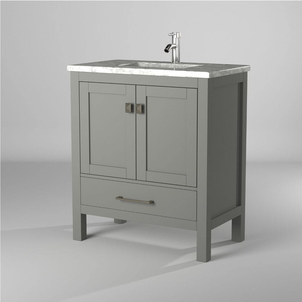 Eviva London 30 In. Transitional Grey Bathroom Vanity With White Carrara Marble Countertop