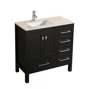 Eviva London 36 In. Transitional Espresso Bathroom Vanity With Crema Marfil Marble Countertop