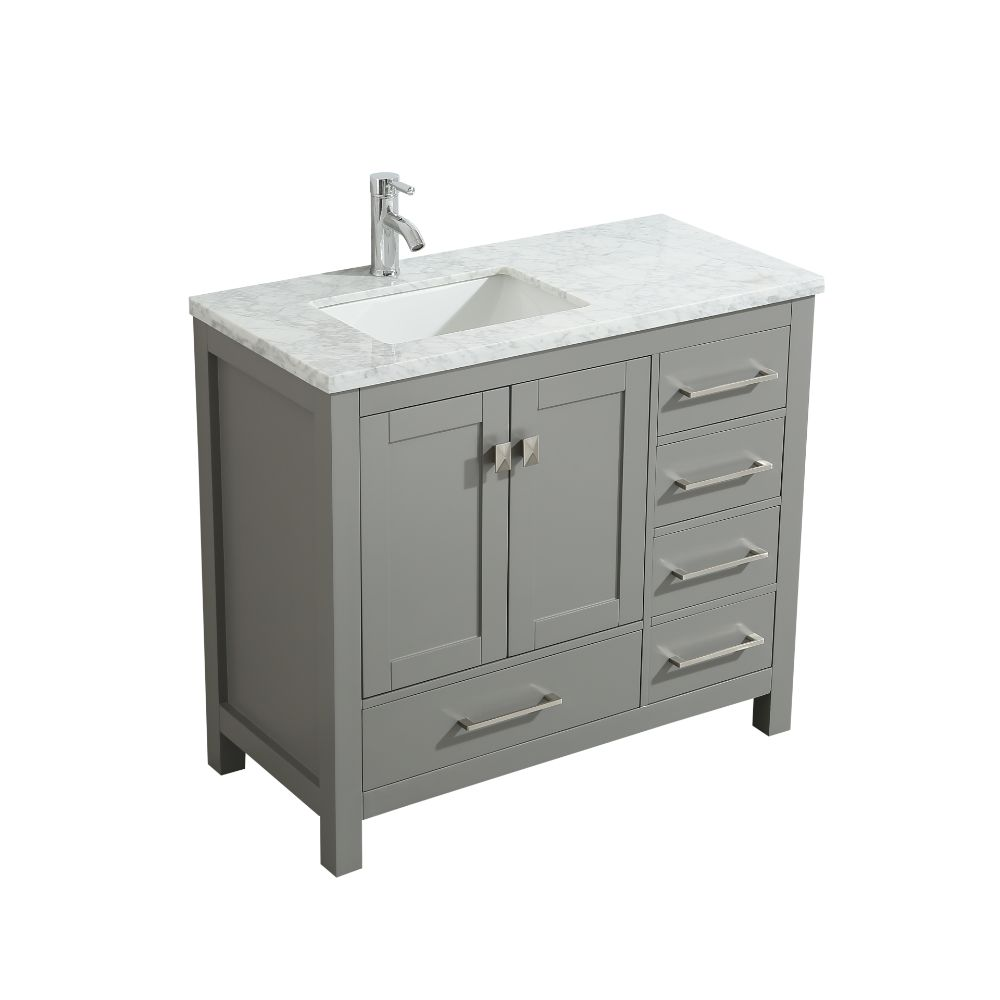 Eviva London 36 In. Transitional Grey Bathroom Vanity With White Carrara Marble Countertop