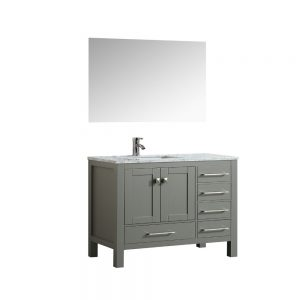 Eviva London 38 In. Transitional Gray Bathroom Vanity With White Carrara Marble Countertop